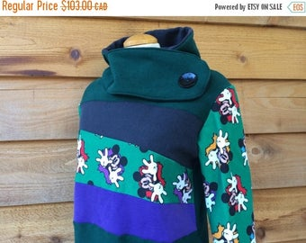 20% SALE Hoodie Sweatshirt Sweater Handmade Recycled Upcycled One of a Kind MOUSE Ladies LARGE - Cartoon Mouse Forest Green