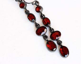 Garnet Earrings - Garnet Jewelry - Oxidized Sterling Silver Earrings - January Birthstone - Blood Red Earrings - Natural - Xmas Gift