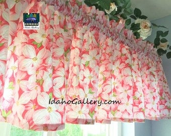 White on Pink Floral Summer Blossoms Valance Curtain Window Treatment by Idaho Gallery