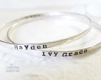 Yours Alone Hand Stamped Personalized Bangle, Handmade Sterling Silver Name Bangle Bracelet, Custom Names, Quote Bangle, Christina Guenther