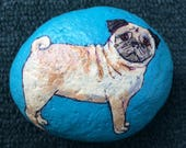 Pug painted rock