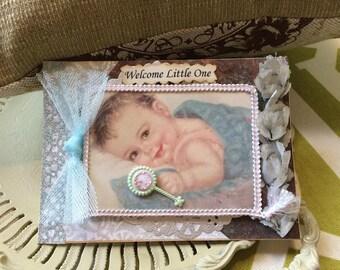 Handmade Baby Boy Card - Vintage-syle Baby Card