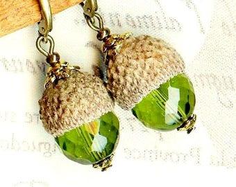 Earrings green Crystal Bohemian ❀ OR459 ❀GLANDS