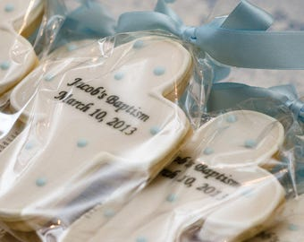 Personalized & Dated Cross Cookies for Baptism, Communion - 80 Decorated Sugar Cookie Favors