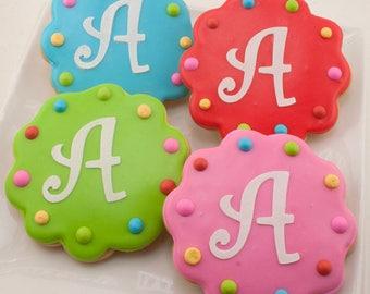 Monogrammed Birthday Cookies, or Numbered - 50 Decorated Sugar Cookie Favors