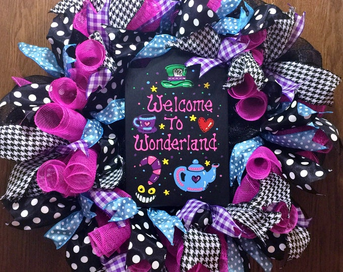 SALE - Welcome to Wonderland - Welcome Door Wreath