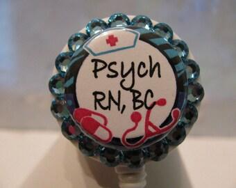 Psych Nurse ID Badge Holder. Retractable ID Badg Reel, ID Card Holder, Name Badge Holder,Name Tag Holder, with Swarovski Crystals