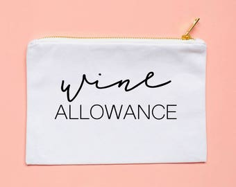 bridal party gifts wine allowance pouch makeup bag cosmetic bag bachelorette party gift gift for her wine lover gift idea
