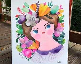 Lavender Girl... original watercolor / gouache... 12 in x 16 in...