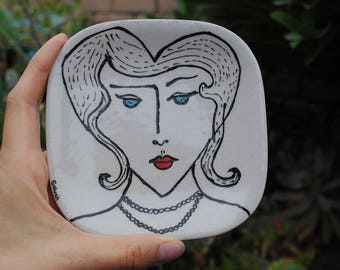 small square dish small ceramic plate heart lady 1920s inspired