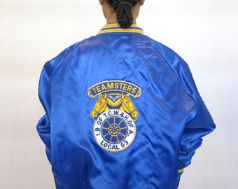 "40% SUMMER SALE The ""Honorary Teamsters"" Blue Baseball Jacket"
