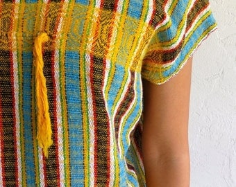 40% SUMMER SALE Yellow Ethnic Knit Cap Sleeved Tunic