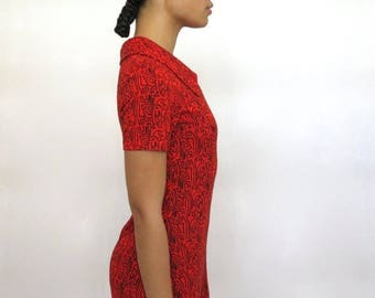 40% OFF CLEARANCE SALE The Red Geometric Print Dress