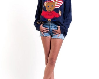 40% OFF The Navy Blue American Teddy Bear Knit Pullover Sweater