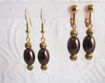 Brown Pearl and Gold Pierced or Clip On Earrings