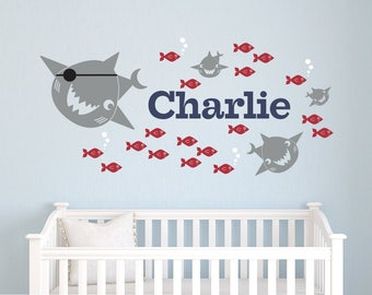 Pirate Shark Wall Decal Personalized Name: Baby Shark Nursery Kids Ocean Under-the-Sea Room Decor