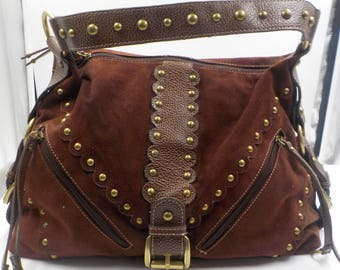 Suede Leather Handbag - Large - Spacious - PRITZI - Gold button accents - Excellent condition