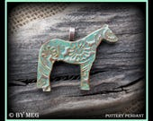 "Quarter Horse Jewelry, Kiln Fired Earthenware, Ceramic Pendant Approx 2"" Wide"