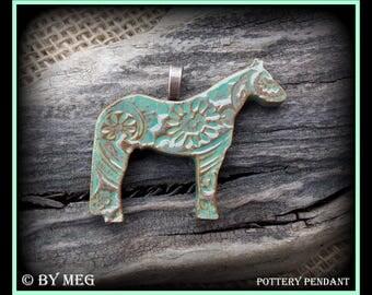 "Quarter Horse Jewelry, Kiln Fired Earthenware, Ceramic Pendant Approx 2"" Wide"