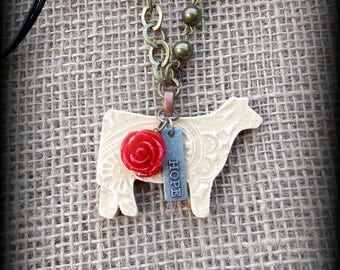 "Show Heifer Kiln Fired Pottery Pendant, Cattle Jewelry, Livestock Bead/Chain  Necklace, Approx 28"" (end to end)"