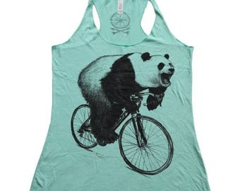 SUMMER SALE Panda on a Bicycle - Womens Tank Top, Ladies Tank, Slouchy, Handmade graphic tank, sizes s-xL
