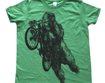 SUMMER SALE Gorilla on a BMX bike -  Kids T Shirt, Children Tee, Tri Blend Tee, Handmade graphic tee, sizes 2-12