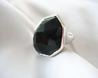 Black Glass Statement Ring, Abstract, Chunky, Silver tone, Faceted, Pedestal, Size 6/7, For Her