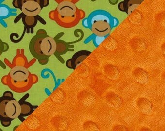 SALE Personalized Baby Blanket - Monkey Baby Blanket Boy,  Blue Green Orange Cotton // Name Blanket / Minky Blanket