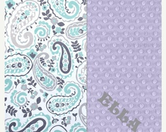 SALE Personalized Baby Blanket Minky Baby Blanket Girl Gray Lavender Mint Paisley - Nursery Decor / Mint Baby Blanket / Name Baby Blanket