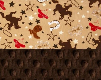 SALE Cowboy Minky Baby Blanket Boy, Personalized Baby Blanket - Red Brown Cowboy Blanket