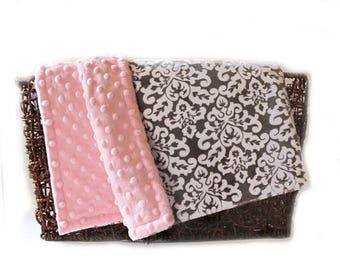 SALE Minky Baby Blanket,  Personalized Damask White Pink Gray Girl - Nursery Decor Girl // Name Baby Blanket // Baby Gift / Damask Blanket