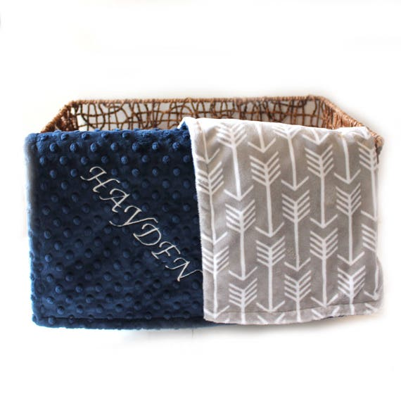 Personalized Gray Arrow Minky Baby Blanket Boy - Crib Bedding / Personalized Baby Blanket / Navy Gray Arrow Baby Blanket Kids Minky Blanket