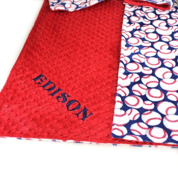 Personalized Baby Blanket / Boy Baby Blanket / Minky Blanket Boy / Red Blue Baseball Blanket // Baby Gift / Receiving Blanket / Name Blanket