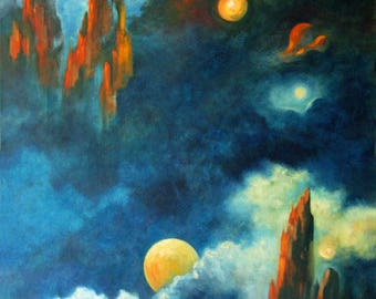 Abstract Painting Home Decor, Space, Moon, Night Painting, Abstract Art, Contemporary Art,