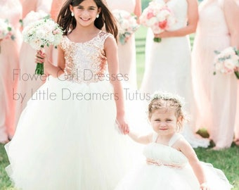 READY to SHIP - Size 8 - As Seen on The KNOT - The Juliet Dress in Blush and Light Ivory - Flower Girl Dress