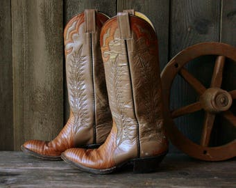 Unisex Cowboy Boots Leather and Snakeskin Two Tone Vintage From NowVintage on Etsy