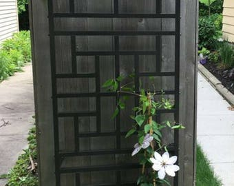 Single Panel Chinese Pinwheel Motif Aluminum Garden Trellis  Kit