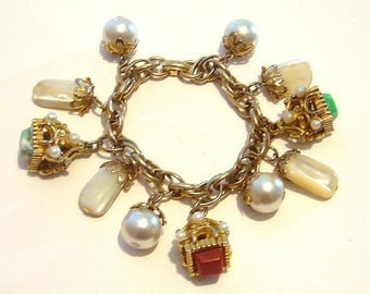 Vintage Charm Bracelet Watch Fob & Mother of Pearl plus faux pearls