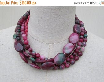 XMAS in JULY SALE Genuine Ruby Zoisite Multi Strand Beaded Necklace , Gemstone Layered Beads Deep Pink Green