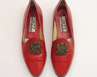 Vintage 1980s Red Leather Flat Slip On Embellished Loafers - 6