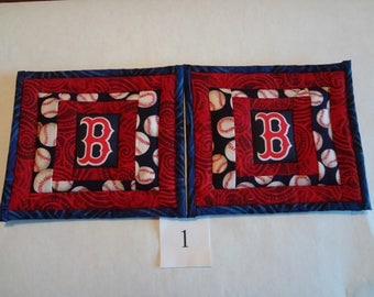 Boston Red Sox quilted pot holders pair #1