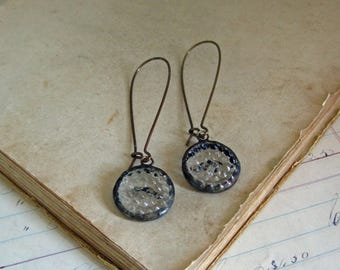 Recycled Clear Glass Button Earrings
