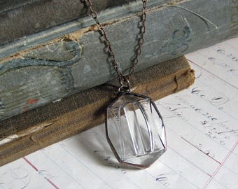 Clear Glass Belt Buckle Necklace
