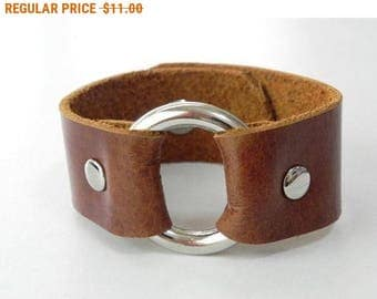 Tan Leather Bracelet Leather Cuff Leather Bangle with Metal O Ring