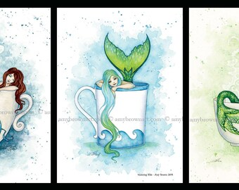 SPECIAL 5x7 Mermaid coffee tea SET by Amy Brown