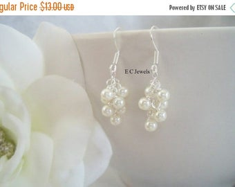 Summer Sale Dainty Pearl Cluster Earrings