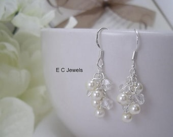 SHOP SALE Dainty Pearl and Crystal Cluster Earrings