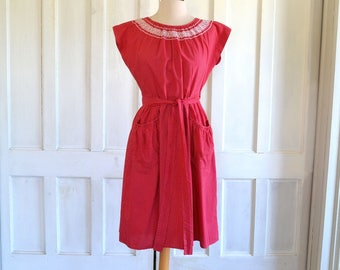 50s Swirl Wrap Dress Red and White Dots
