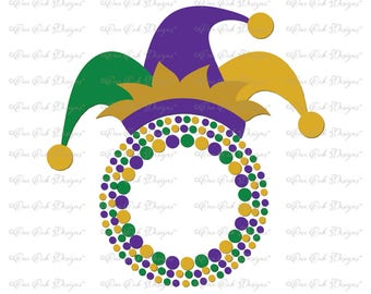 Mardi Gras Hat Circle Monogram Frame  SVG DXF pdf png jpg for Cameo Cricut & other electronic cutters