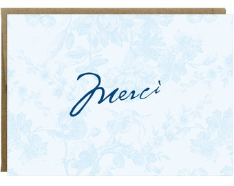 Merci Vintage French Flower Thank you Card in Blue